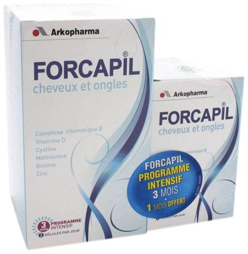 Arkopharma Forcapil Vitamins for Hair Loss, Volumizing, and Nails 180 Caps+ 60 Caps for Free by Forcapil by Forcapil