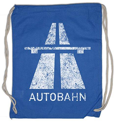 AUTOBAHN Drawstring Bag Electro Pop Kraftwerk Synthie 80s Wave Elektro Techno Acid House Indie Sign Schild Road Highway A German Deutschland (Autobahn Backpack)