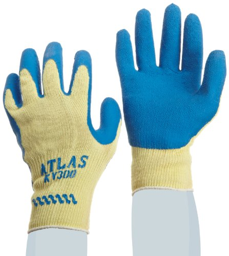 SHOWA Atlas KV300 Natural Rubber Palm Coating Glove, 10 Gauge Seamless Kevlar Liner, Cut Resistant, Medium (Pack of 12 Pairs) (Natural Rubber Palm Gloves)