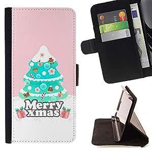 For Samsung Galaxy S6 Case , Árbol de Navidad Rosa de invierno- la tarjeta de Crédito Slots PU Funda de cuero Monedero caso cubierta de piel