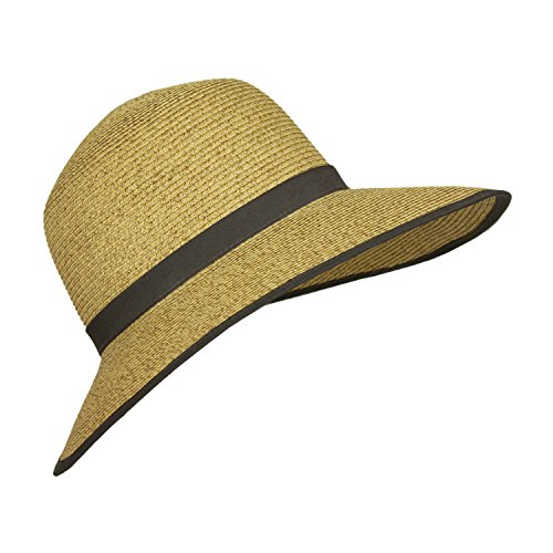 Derby Hat Brown Straw Sun Visor Hats with Wide Brim, (Classic Hooded Hat)