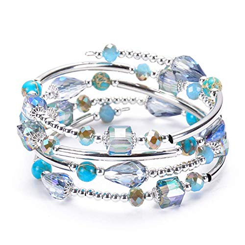 - ISAACSONG.DESIGN Bohemian Multilayer Healing Stone Crystal Beads Charm Tribal Wrap Bangle Bracelet for Women (Deep Ocean Blue)