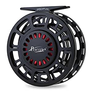 Piscifun Platte Fully Sealed Drag Large Arbor Fly Fishing Reel with CNC-machined Aluminum Alloy Body 3/4 Black