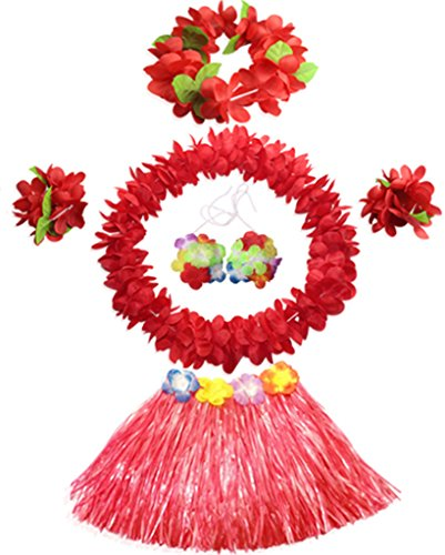 40cm Elastic Hawaiian red grass skirt performance costume set for girls