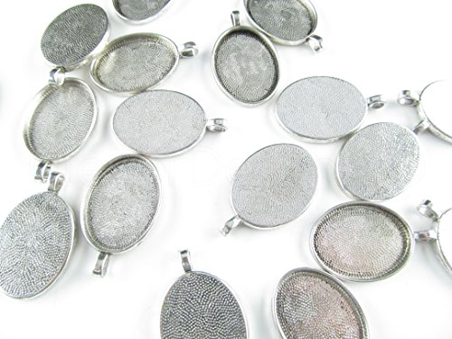 CleverDelights 50 Oval Pendant Trays - Antique Silver Color - 22 x 30 mm - Pendant Blanks Cameo Bezel Settings - Custom Jewelry Making 22x30mm