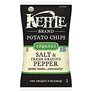Kettle Brand Organic Potato Chips, Salt & Fresh Ground Black Pepper, 5-Ounce Bags (Pack of 15)