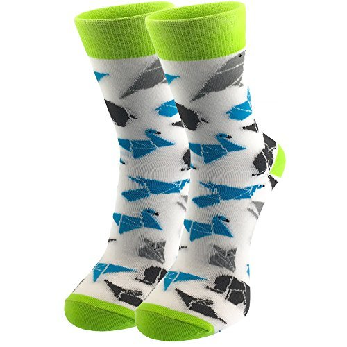 Origami Print Dress - Men's & Women's Socks - Luxury Cotton - Funky Cool Crazy Colorful Patterned Designer Fun Dress Socks (6-10, Origami (Women's))