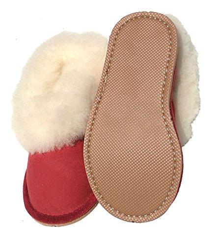 chaussons enfants garçons rouges fourrés peau de mouton - tannage naturel - 29