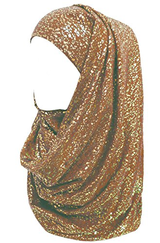 Lina & Lily Gold Glitter Plain Color Hijab Muslim Head Wrap Scarf Shawl (Brown)