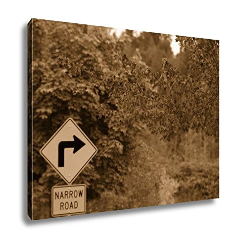 Ashley Canvas Red Foliage And Yellow Road Signs, Home Office, Ready to Hang, Sepia 20x25, AG6536995 20 Piece Master Spindle