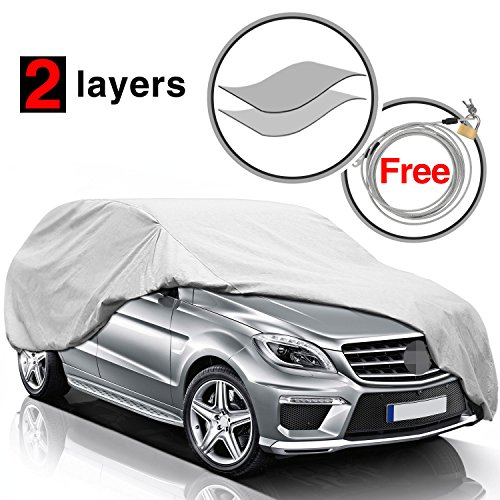 (KAKIT SUV Cover,Waterproof All Weather Car Covers with Free Windproof Straps and Anti-Theft Lock for SUV Automobiles, Fits 200