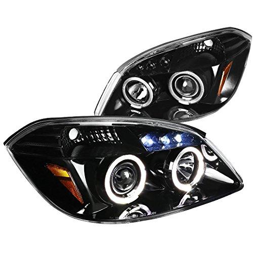 Jet Black Chevy Cobalt Pontiac Pursuit G5 LED Halo Projector Headlights Pair