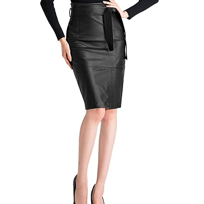 9aa40e8953f KoHuiJoo Plus Size Leather Skirt Women Sexy High Waist Ladies Faux Pu  Pencil Skirts (Black