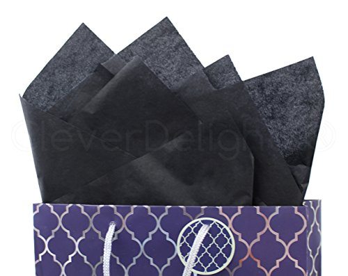 CleverDelights Black Premium Tissue Paper - 100 Sheets - 20'' x 30'' - Acid-Free Gift Paper by CleverDelights