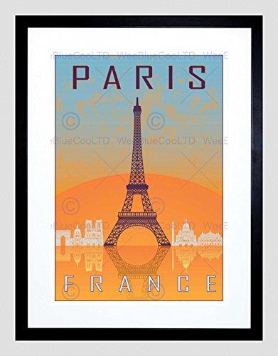 TRAVEL PARIS CITY FRANCE EIFFEL TOWER ARC DE TRIOMPHE FRAMED ART PRINT (Arc De Triomphe Framed Art)