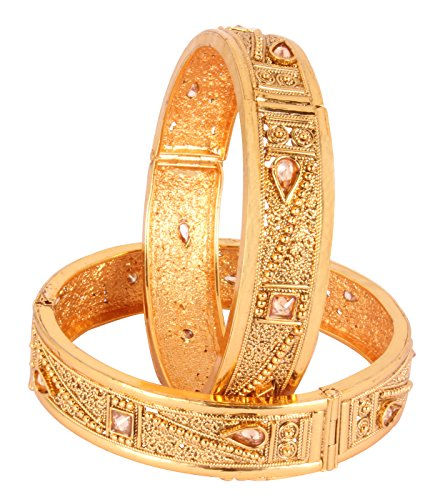 Bollywood Fashion Gold Plated Indian Polki Bangle Ethnic Traditional Jewelry (2.4)