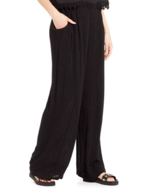 Stoosh Juniors' Printed Wide-Leg Pants, Black, Medium