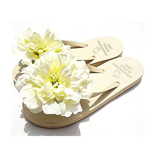 HYL World Women's Beach Flip Flops Colorful Flower Slipper Summer Flat (Flip Flops With Flower)