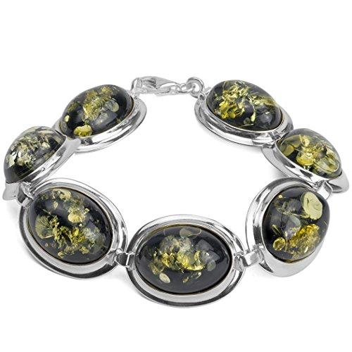 Grand Bracelet ovale ambre Verte Argent Sterling 18,5cm