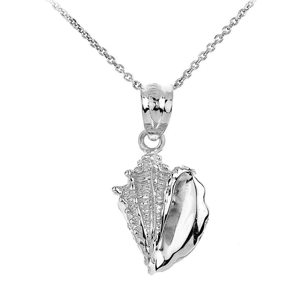 925 Sterling Silver Sea Shell Charm Pendant Necklace