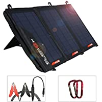 ELEGEEK Foldable Solar Panel Charger 21W Folding Solar Panel USB + DC Output Solar Charger with Adjustable Stand and Zipper Storage Bag for Cellphone iPad Gopro Camera Car Battery Emergency