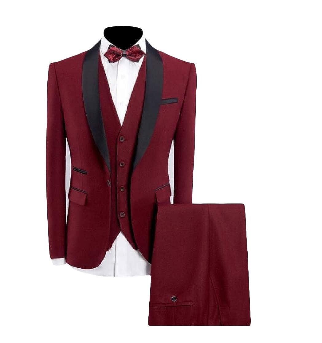 Macondoo Men Trousers Casual Coat Vest Slim Fit 3 PCS Suit Sets