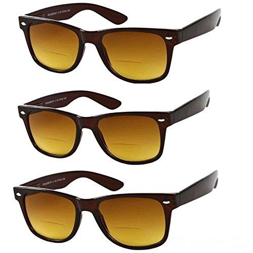 3 Pair Classic Wayfarer Bifocal Outdoor Reading Sunglasses - Brown - 1.50 Sunglasses