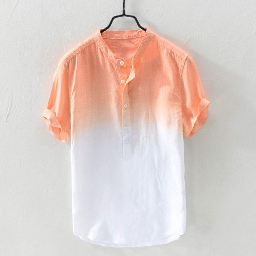 Emerayo Summer Mens Cool Shirt Men Thin Breathable Collar Hanging Dyed Gradient Cotton Shirt