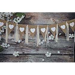 Rustic Burlap Banner with Lace Printed Heart Garland Pennant Burlap Triangles Banner Triangle Flags DIY Decoration for Wedding Party Birthday Bridal Shower Baby Shower Party Decor Birthday Decor 9Ft