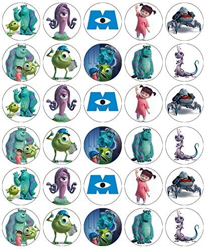 Groovy 30 Monsters Inc Mike And Sully Cupcake Toppers Edible Wafer Paper Funny Birthday Cards Online Unhofree Goldxyz