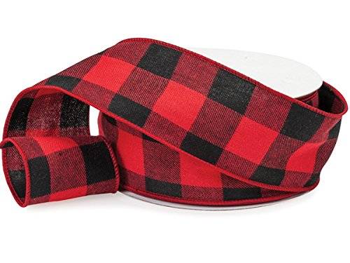 Lumberjack Ribbon, 2.5'' Wide x 25 Yards, Black Red Buffalo Check Ribbon - Lightweight Flannel : Lumberjack Party Supplies : by Rustic Pearl Collection