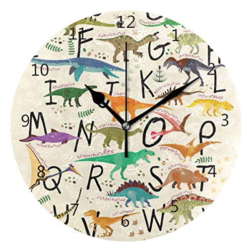 senya Wall Clock Silent 9.5 Inch Battery Operated Non Ticking Round Decorative Acrylic Quiet Clocks for Bedroom Office School Home by domook ABC Dinosaurs -