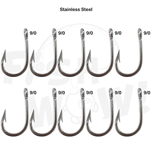 10pcs Fish WOW! Swordfish Hook Big Game Southern Stainless Steel Tuna Hooks - Size 9/0 (Southern Tuna)