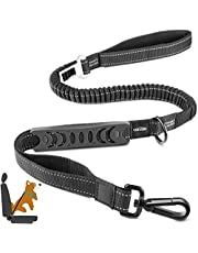 Oasser Dog Seat Belt Harness Adjustable Pet Dog Leash for Cars 4-in-1 Super Elastic Bungee Buffer for Dogs with Safety Buckle Reflective Strips Soft Handle E5