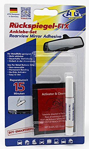 atg Rear Mirror FIX - Adhesive Set for attaching car Interior Mirror to The Windshield - incl. activator in 3-Part car Repair kit - DIY Smart Repair (Best Glue To Fix Rear View Mirror)