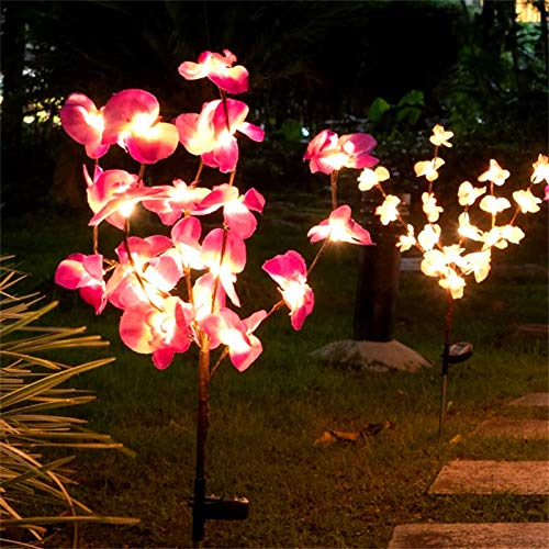 Etercycle Outdoor Solar Garden Stake Lights,Bright LED Solar Powered Landscape Fairy Lights, IP65 Waterproof Flickering Big Flowers for Pathway Patio Yard Deck Walkway Christmas Decoration -New Orchid