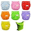 7pcs Reusable Baby Infant Nappy Cloth Diapers Soft Cover Washable One Size Adjustable
