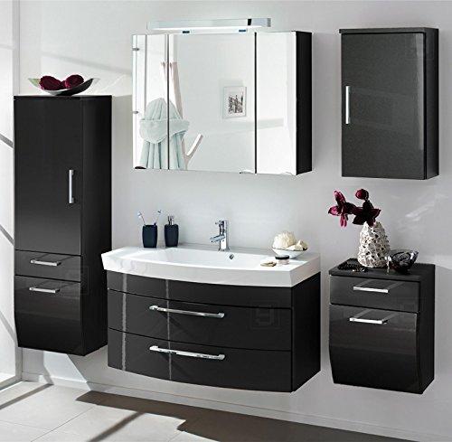 Badezimmer Set Hochglanz anthrazit Badmöbel Waschbecken ...