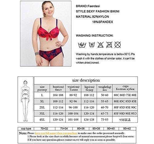 SZH YIBI La Sra gran tamaño bikini de alta elasticidad ambiental de fertilizantes para aumentar Europa y el traje de baño partido Estados Unidos blue red