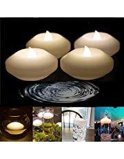 LACGO Wax Flicker 3 inch LED Water Floating Candle Warm White Color for Wedding or Party Decoration Warm White
