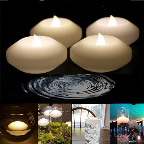 LACGO 3 Wedding Novelty Candles Real Wax Flameless Floating Flicker LED Candle, LED Water Activated Candle, for Home, Party and Festival Decoration(Warm White, Pack of 4)