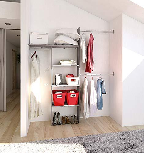 PLAYCON Closet armable Organizador Modelo PRACTICO 3 entrepaños y un maletero Ancho máximo de 190 cm. Altura 211 cm. Color Gris Texturizad