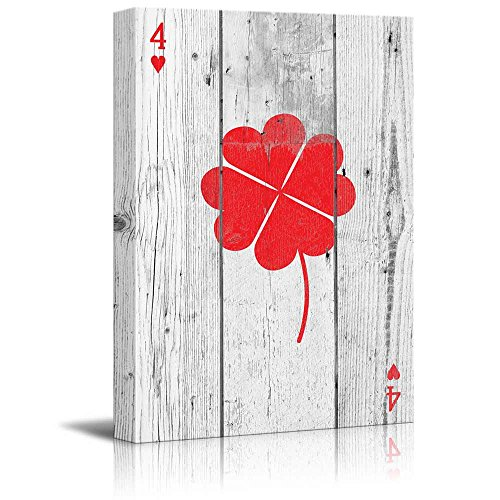 Poker Cards Hearts 4 Hearts Forming a Lucky Four Leaf Clover
