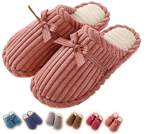 Women Indoor Slippers House Men Cozy Non Slip Memory Foam Lightweight Lining Plush Washable Warm Cotton Home Pink US4-5=EU35-36(CN36-37) by Lijeer