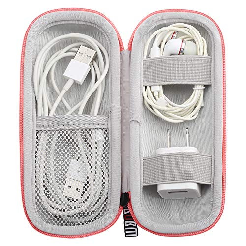 EVA Headphone Hard Travel Carrying Case, Portable Storage Bag for Bluetooth Wired Headset Earphone Earbuds MP3, AirPods, Lighting Cable, Power Adapter(Pink)