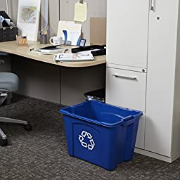 Rubbermaid Commercial Recycling Bin, 14 Gallon, Blue (FG571473BLUE)
