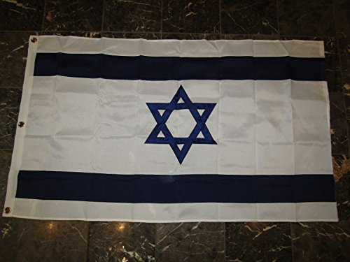 3x5 Embroidered Sewn Israel Star of David 600D Solarmax Nylon Flag 3'x5' 3 Clips