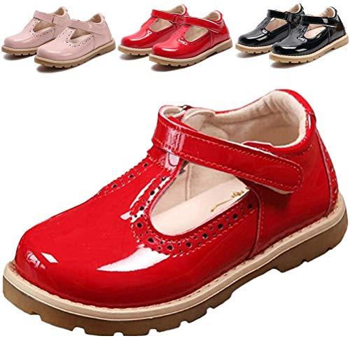 - DADAWEN Girl's T-Strap School Uniform Dress Shoe Mary Jane Princess Flat Red US Size 8.5 M Toddler