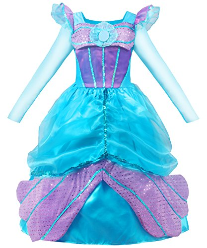 JerrisApparel Long Sleeve Little Girl's Mermaid Costume Princess Dress Up (5, Blue)]()