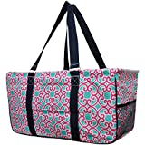 Geometric Trellis Vine Print Utility Tote Bag For Sale